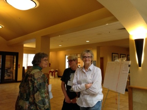 Dorothy Snell chatting with MaryLou & Jackie Poucher.