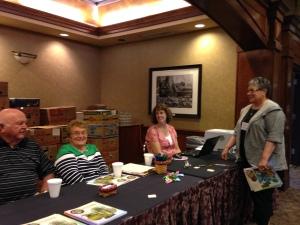 The Seeck auction checkout crew & Karen Engle.
